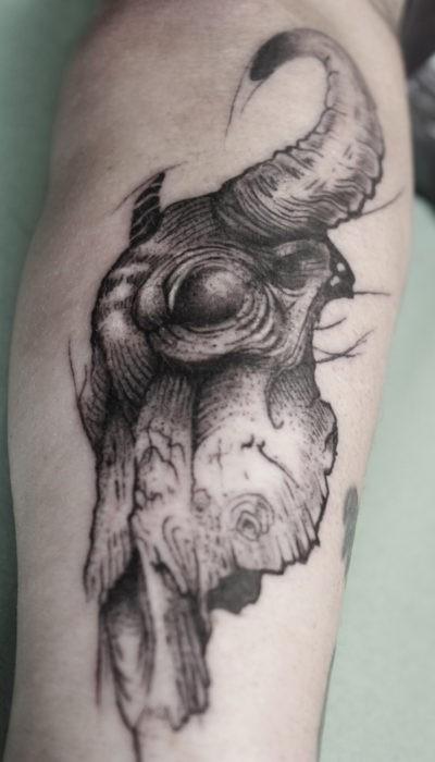 bůvolí lebka tetování, originální tetování ve Frýdku